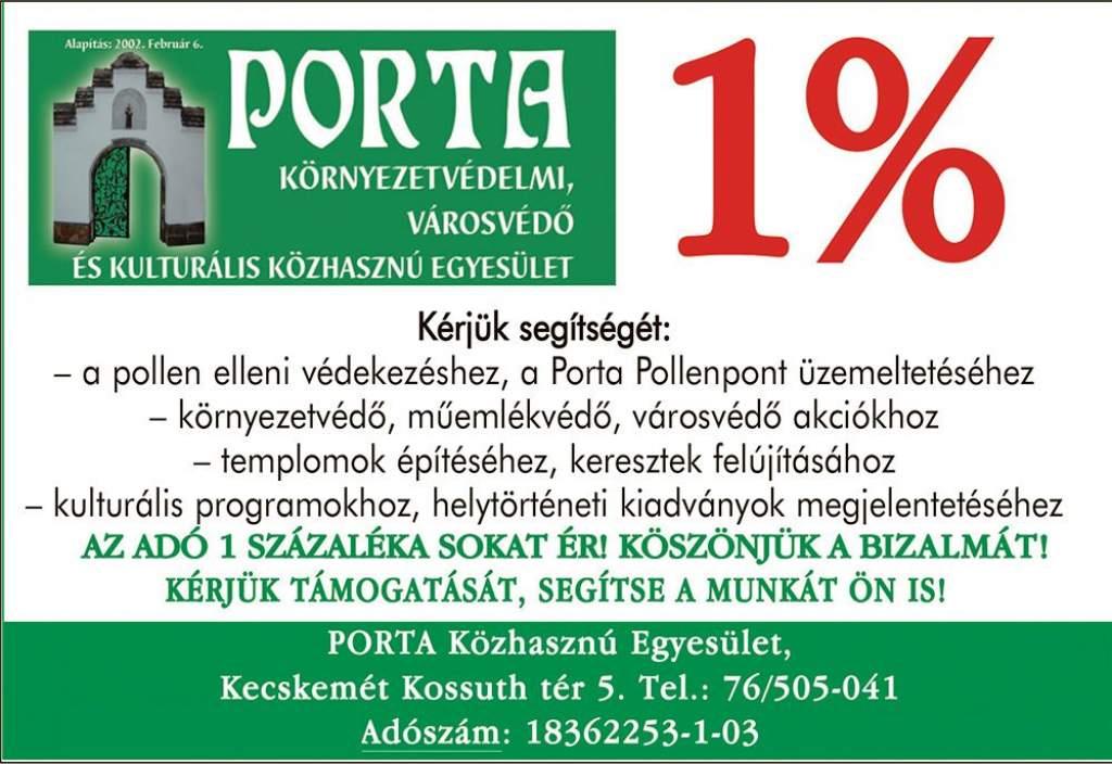 Ajánlja fel adója 1%-át a Porta Egyesületnek vagy a Szenteste Alapítványnak